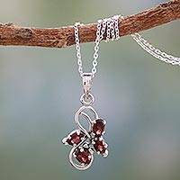 Garnet pendant necklace, 'Forbidden Fruit' - 1.5 Carat Garnet Pendant on Sterling Silver Necklace