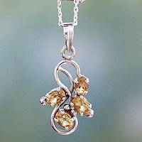 Citrine pendant necklace, 'Forbidden Fruit' - 1.5 Carat Citrine Pendant on Sterling Silver Necklace