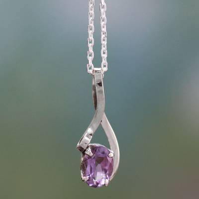 Amethyst pendant necklace, 'The One' - Artisan Crafted Amethyst and Sterling Silver Necklace