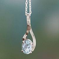 Blue topaz pendant necklace, 'The One' - Artisan Crafted Jewelry Blue Topaz Sterling Silver Necklace