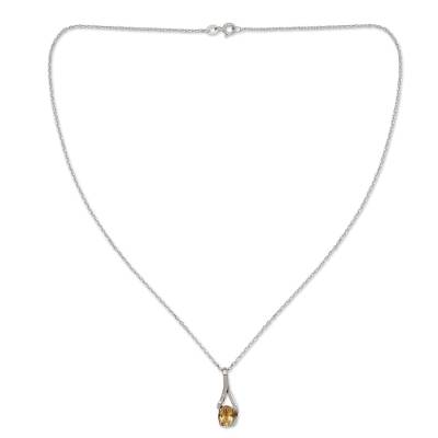 Artisan Crafted Jewelry Citrine and Sterling Silver Necklace