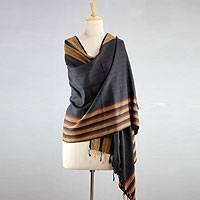Silk shawl, 'Sunset in Bhagalpur' - Handwoven Indian Silk Shawl