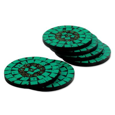 Set of 6 Turquoise Colored Coasters Artisan Crafted in India
