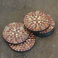 Glass coasters, 'Earth's Vanity' (set of 6) - Round Glass Tile Coasters Handcrafted in India (set of 6)