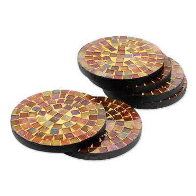 Round Glass Tile Coasters Handcrafted in India (set of 6)