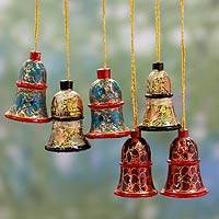 Wood ornaments, 'Celebration' (set of 6) - Hand Painted Wooden Bells from India
