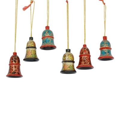Wood ornaments, 'Celebration' (set of 6) - Hand Painted Wood Bell Ornaments (set of 6)