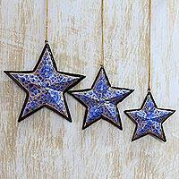 Wood ornaments, 'Blue Rose Stars' (set of 3) - Hand Painted Wood Ornaments (set of 3)