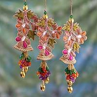Beaded ornaments, 'Bells and Mistletoe' (set of 3) - Embroidered Beaded Ornaments from India (set of 3)