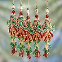Beaded ornaments, 'Mughal Tulips' (set of 5) - Embroidered Beaded Ornaments from India (set of 5)