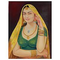 'Rajasthani Beauty I' - Rajasthani Woman Portrait Painting