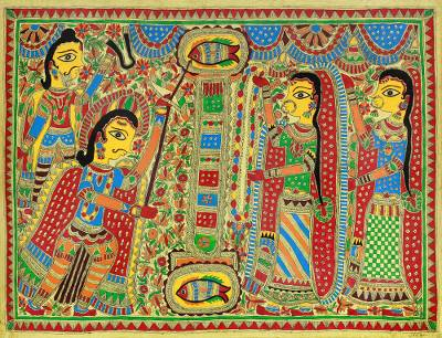 Hindu Art Madhubani Painting on Handmade Paper