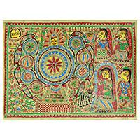 Madhubani painting, 'Wedding Room II' - Ceremonial Madhubani Painting Signed Hinduism Art