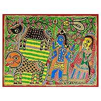 Madhubani painting, 'Shiva and Parvati' - Traditional Madhubani Folk Art Painting on Handmade Paper