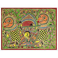 Madhubani painting, 'Durga's Marriage' - Original Madhubani Folk Art Painting of Goddess Durga