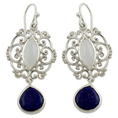 Moonstone Lapis Lazuli and Silver Earrings from India