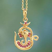 Gold vermeil ruby pendant necklace,