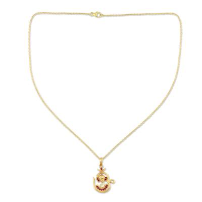 18k Gold Plated Ruby Pendant Necklace