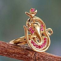 Gold vermeil ruby cocktail ring, 'Om Ganesha' - India Gold Vermeil Ruby Ganesha Ring