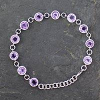 Amethyst tennis bracelet, 'Love Forever' - Hand Made Amethyst Bracelet from India
