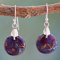 Sterling silver dangle earrings, 'Moon of Enigma'