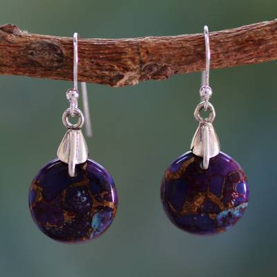 Sterling silver dangle earrings, 'Moon of Enigma' - Purple Turquoise Sphere Earrings India Artisan Jewelry