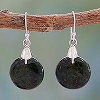 Bloodstone dangle earrings, 'Moon of Justice' - Bloodstone Sphere Earrings India Artisan Jewelry