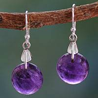 Amethyst dangle earrings, 'Moon of Mysticism' - Amethyst Sphere Earrings India Artisan Jewelry