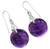 Amethyst dangle earrings, 'Moon of Mysticism' - Amethyst Sphere Earrings India Artisan Jewelry (image 2b) thumbail
