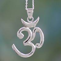 Sterling silver pendant necklace, 'Shiva Mantra' - Hand Crafted Sterling Mantra Necklace from India