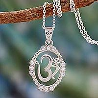 Sterling silver pendant necklace, 'Peaceful Om' - Hand Crafted CZ and Silver Necklace from India