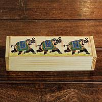 Wood jewelry box, 'Blue Elephant Parade' - Fair trade Handcrafted India Jewelry Box