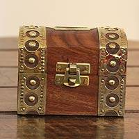 Wood and brass bank, 'Treasure Chest' - India Handmade Wood and Brass Money Bank