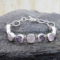 Rose quartz and amethyst link bracelet, 'Spiritual Romance' - Sterling Silver Bracelet with Rose Quartz and Amethyst