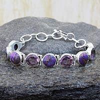 Amethyst link bracelet, 'Spiritual Friendship' - Amethyst and Purple Turquoise Sterling Silver Bracelet