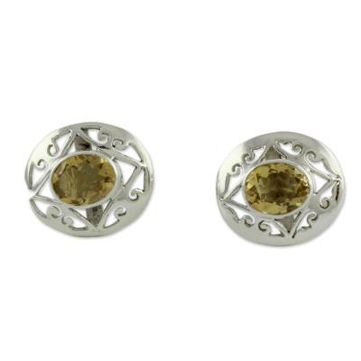 Artisan Crafted Silver and Citrine Earrings