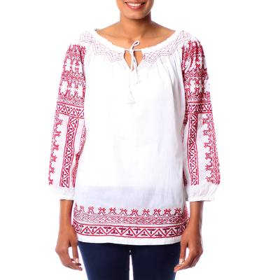 Cotton blouse, 'Sweet Red Romance' - Fully lined White Cotton Blouse with Red Hand Embroidery