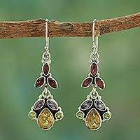 Multi-gem dangle earrings, 'Tropical Elegance' - Artisan Crafted Multi-gemstone Earrings