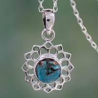 Sterling silver pendant necklace, 'Star of Gujurat' - Turquoise Color Necklace Hand Crafted in Sterling Silver