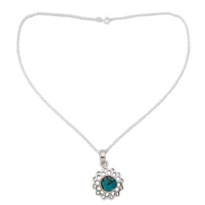 Turquoise Color Necklace Hand Crafted in Sterling Silver
