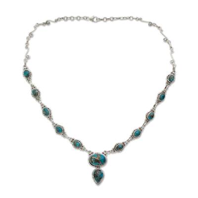Turquoise Color Y Necklace Hand Crafted in Sterling Silver