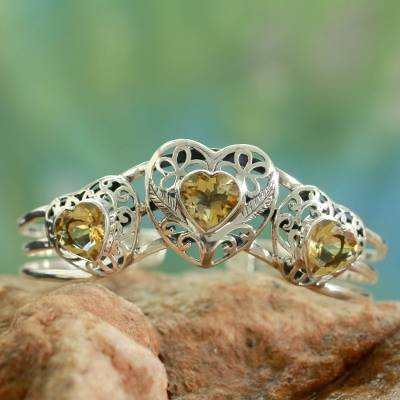 Citrine cuff bracelet, 'Golden Hearts' - Citrine Hearts in Sterling Silver Cuff Bracelet