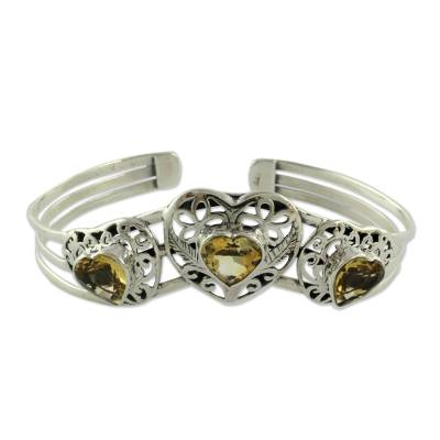 Citrine Hearts in Sterling Silver Cuff Bracelet