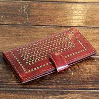 Leather wallet, 'Palace Green Ivy' - Handcrafted Brown Leather Wallet from India