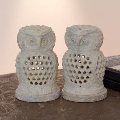 Soapstone candleholders, 'Lucky Owls' (pair) - Hand Carved Soapstone Owl Candle Holders (Pair)