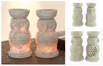 Soapstone oil warmers, 'Lucky Owls' (pair) - Hand Carved Soapstone Owl Aromatic Oil Warmers (Pair)