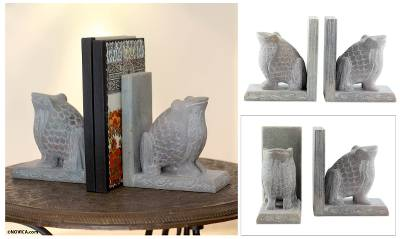 Soapstone bookends, 'Happy Hoppy Frog' (pair) - Hand Carved Soapstone Frog Bookends (Pair)