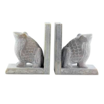 Hand Carved Soapstone Frog Bookends (Pair)