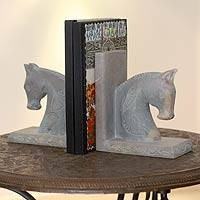 Soapstone bookends, 'Pretty Ponies' (pair) - Hand Carved Soapstone Horse Bookends (Pair)