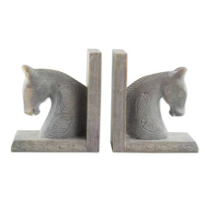 Hand Carved Soapstone Horse Bookends (Pair)